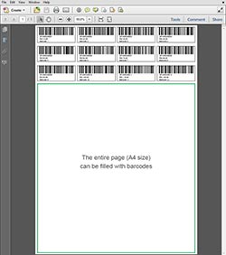 A4 size Barcode 12 Digits