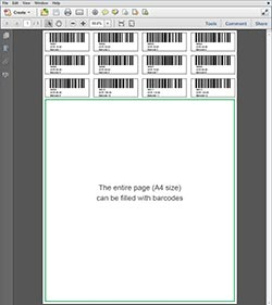 A4 size Barcode 5 Digits