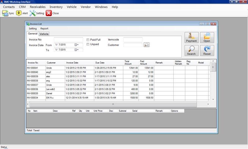 garage invoicing software