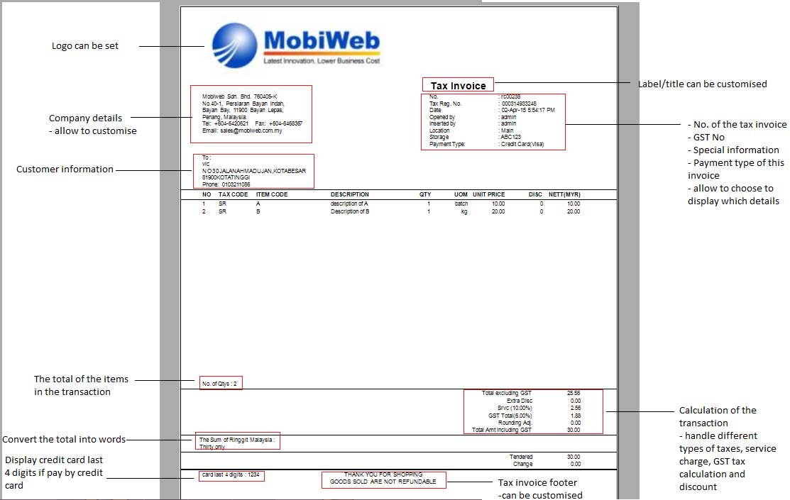 Point Of Sales System Malaysia GST Tax Invoice Online Offline - Goods invoice