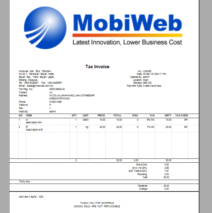 Point Of Sales System Malaysia GST Tax Invoice Online Offline - Commission invoice format for service business