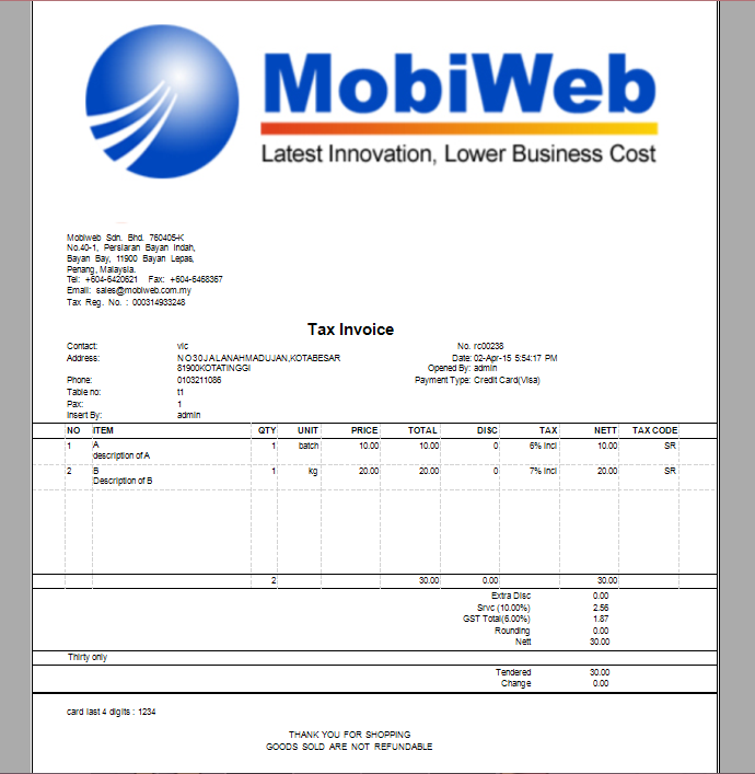 point of sales system malaysia | online pos system | goods and, Invoice templates
