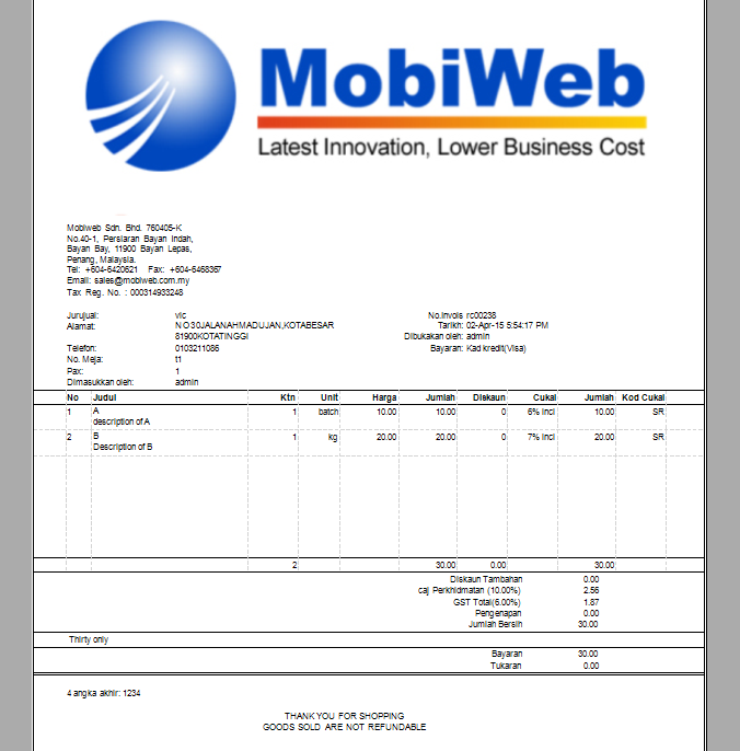 Point of Sales System Malaysia Online POS System – Sample Gst Invoice