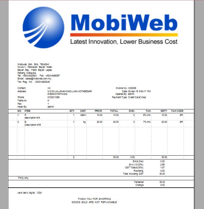 GST Tax Invoice Layouts