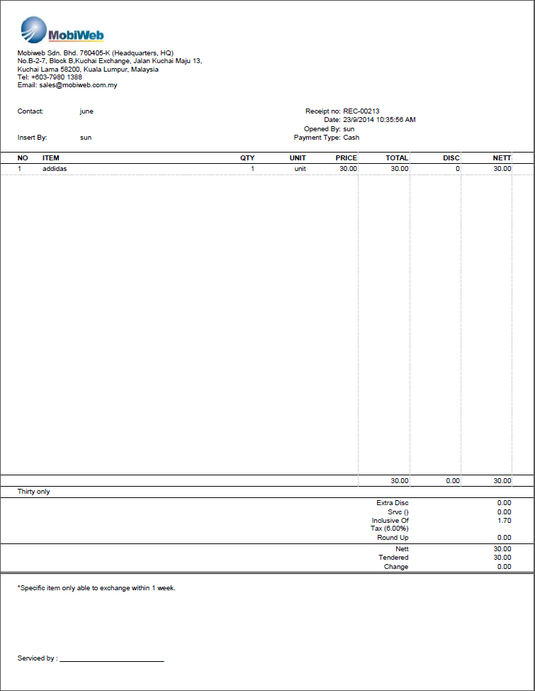 A4 Receipt Layout Samples
