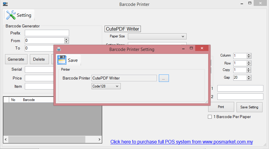 Barcode Printer Setup