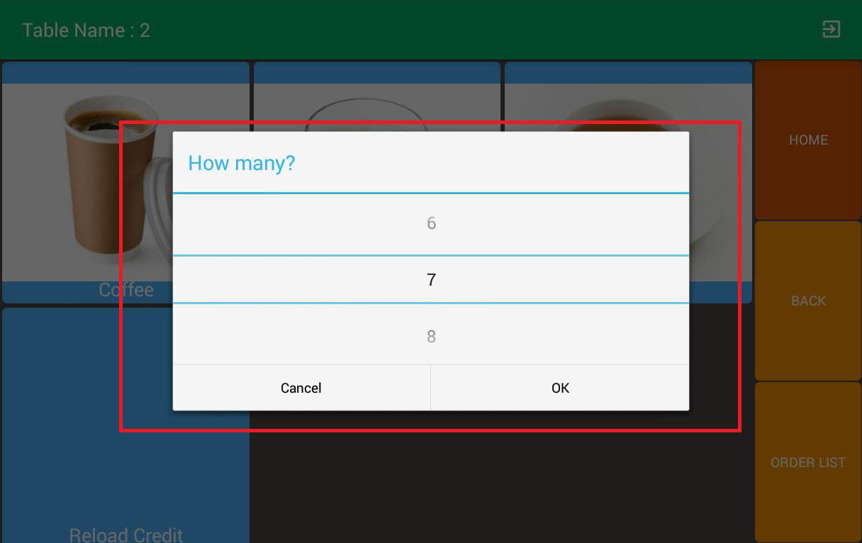 mobile ordering android app item quantity