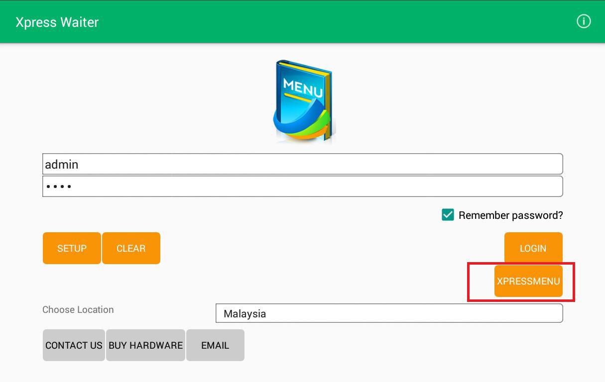 mobile ordering system login