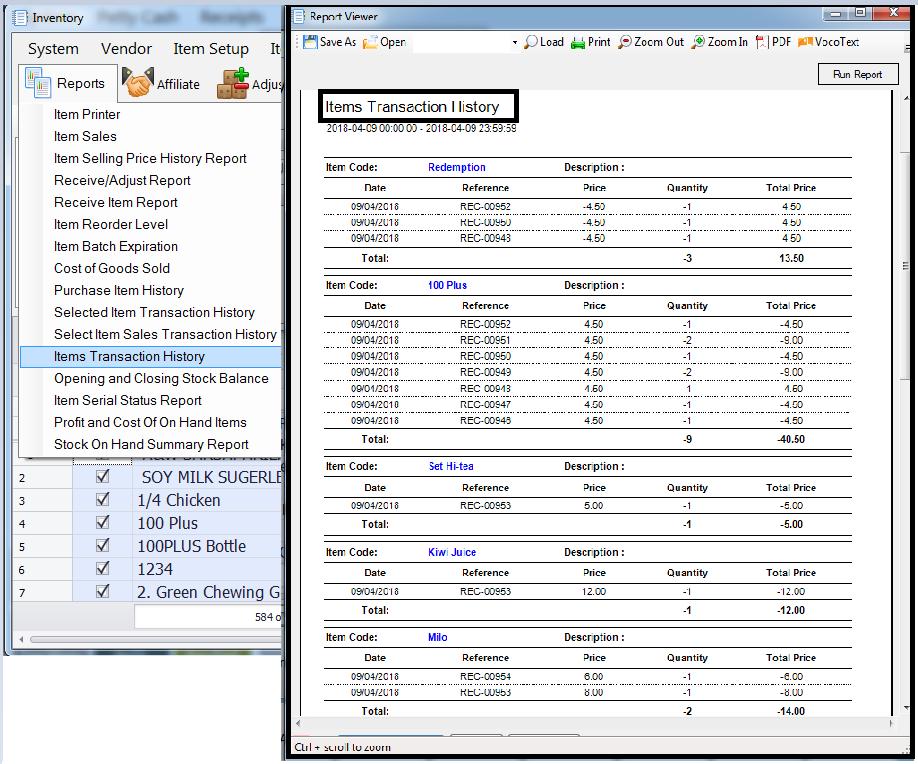 item transaction report