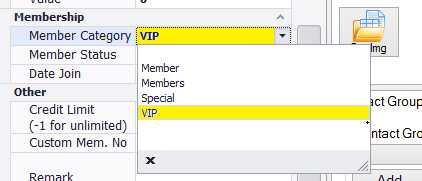 set contact with membership category