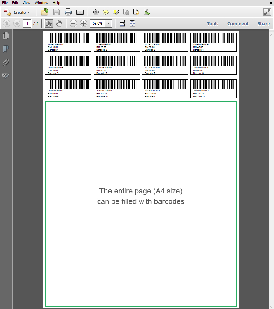 A4 size Barcode 12 Digits