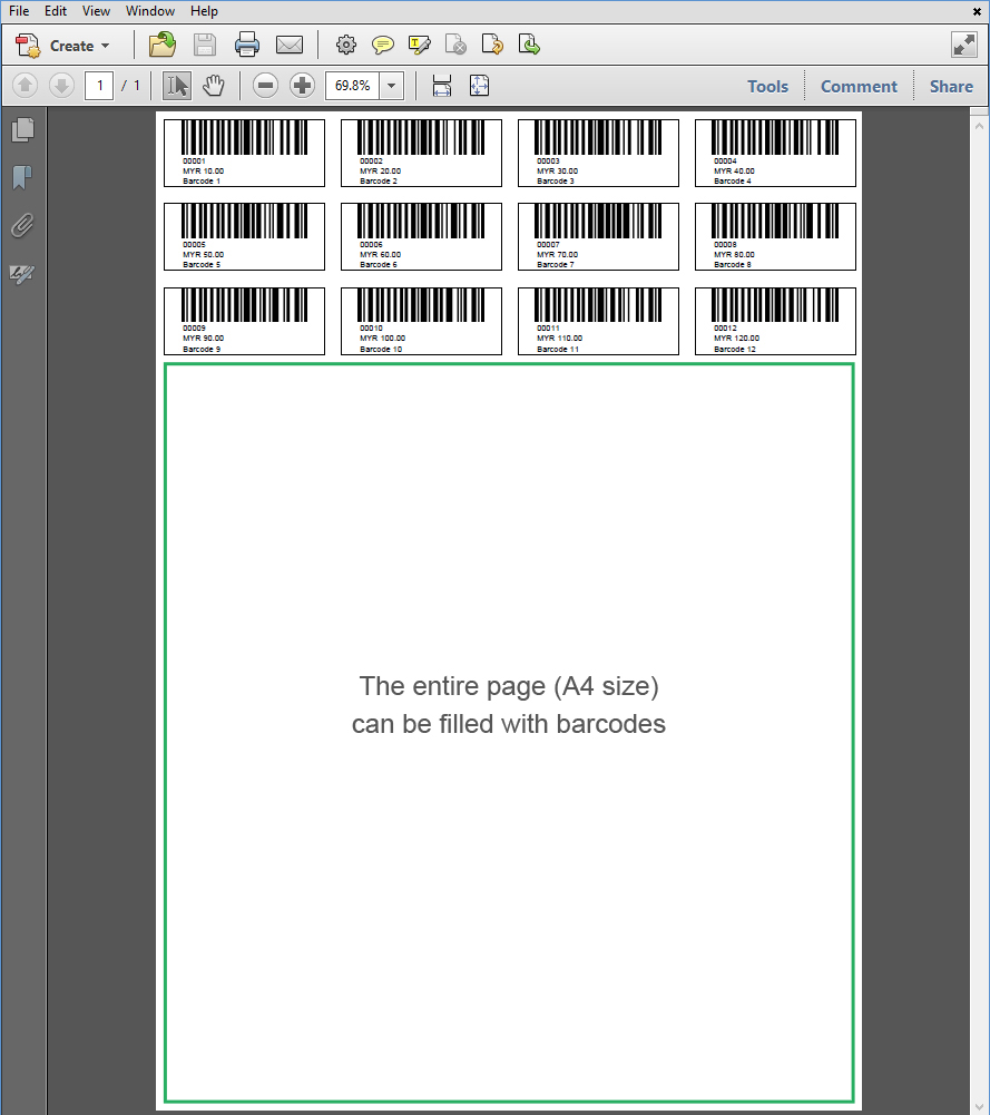 A4 size Barcode 5 Digits