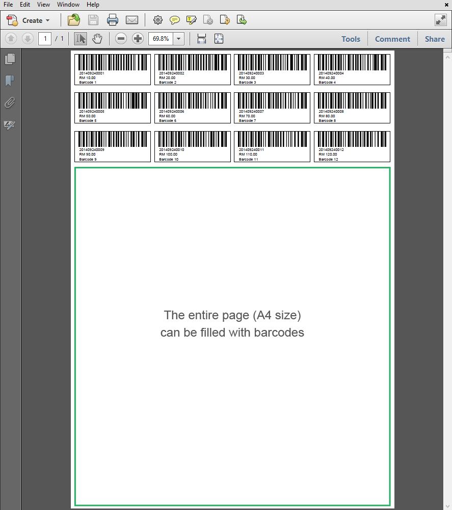 barcode 12 digit a4 pos market