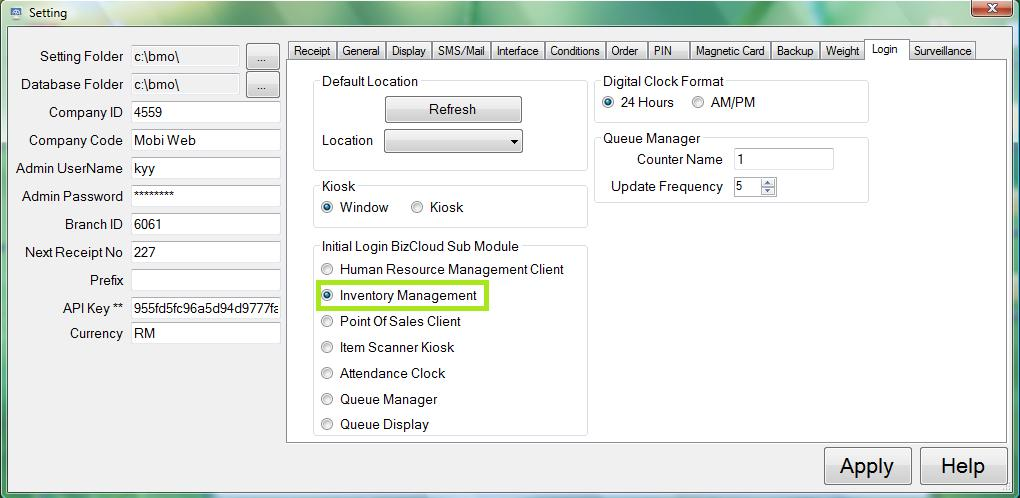 inventory control setting