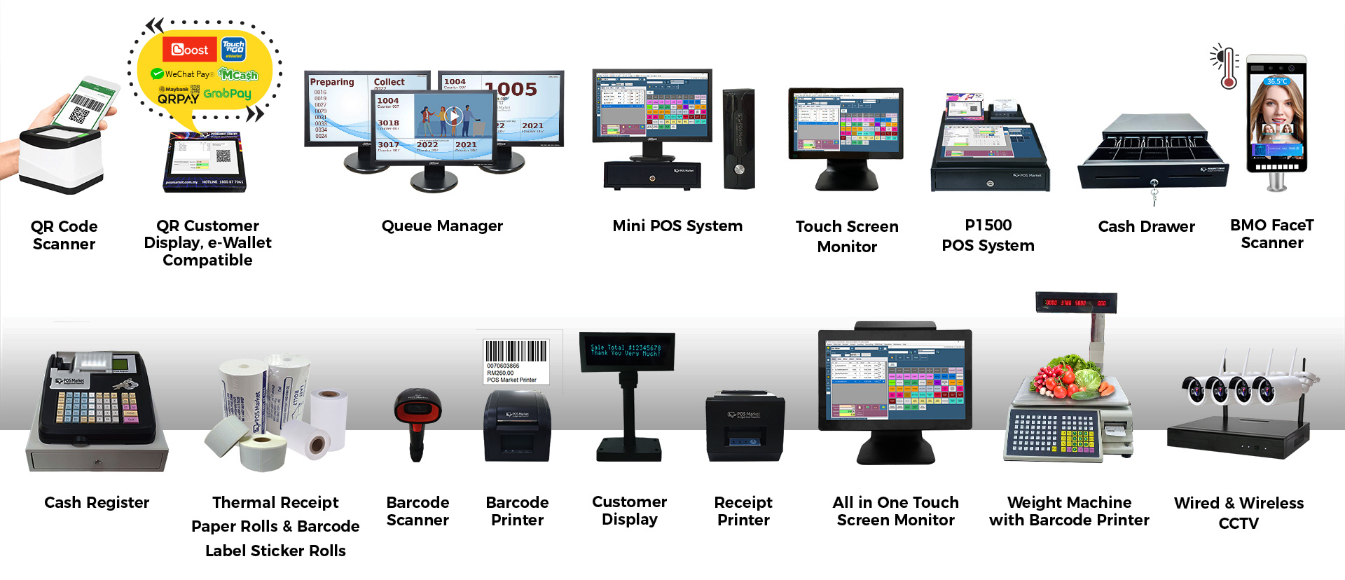 pos system hardwares catalogue banner qms ewallet